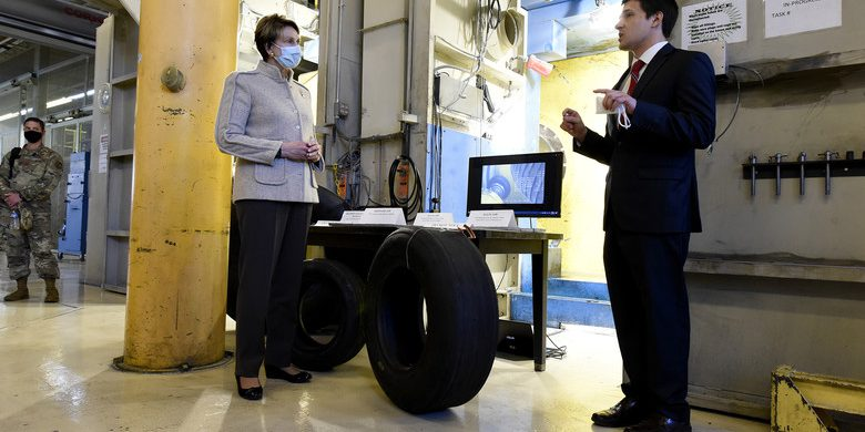 Secretary of the Air Force Barbara Barrett is briefed by Sami Labban at the Landing Gear Test Facility, Wright-Patterson Air Force Base, OH, April 21, 2020. Engineers at the facility have developed a new, one-of-a-kind test capability that can identify, characterize, and classify tire wear under realistic operational conditions – saving thousands per tire over the life cycle (U.S. Air Force photo by Ty Greenlees).