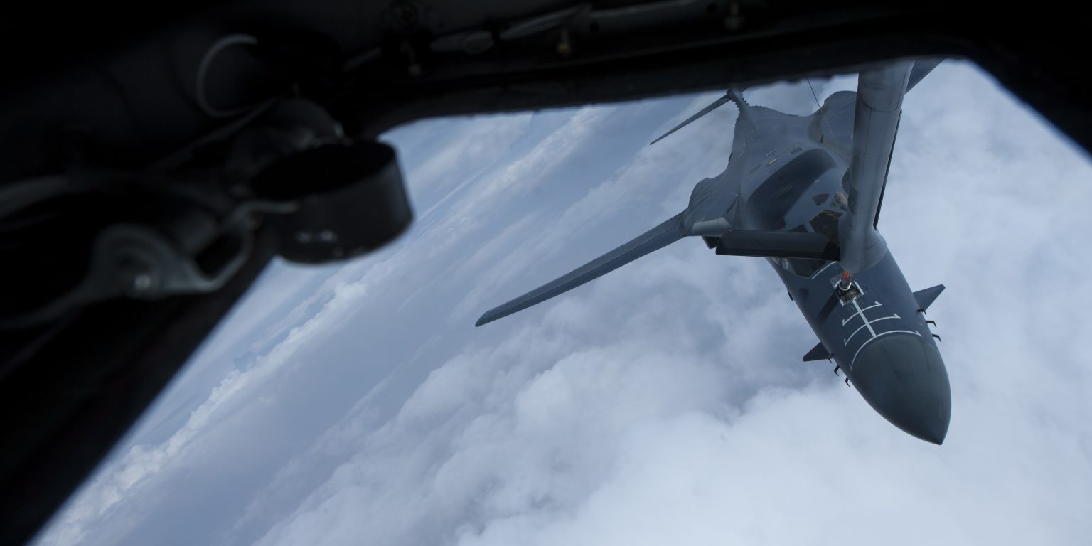 A USAF B-1B Lancer assigned to 34th Expeditionary Bomb Squadron receives in-flight fuel from a KC-135 Stratotanker during a mission in support of Operation Inherent Resolve over Iraq on October 16, 2018 (Air Force photo by Staff Sgt. Keith James).
