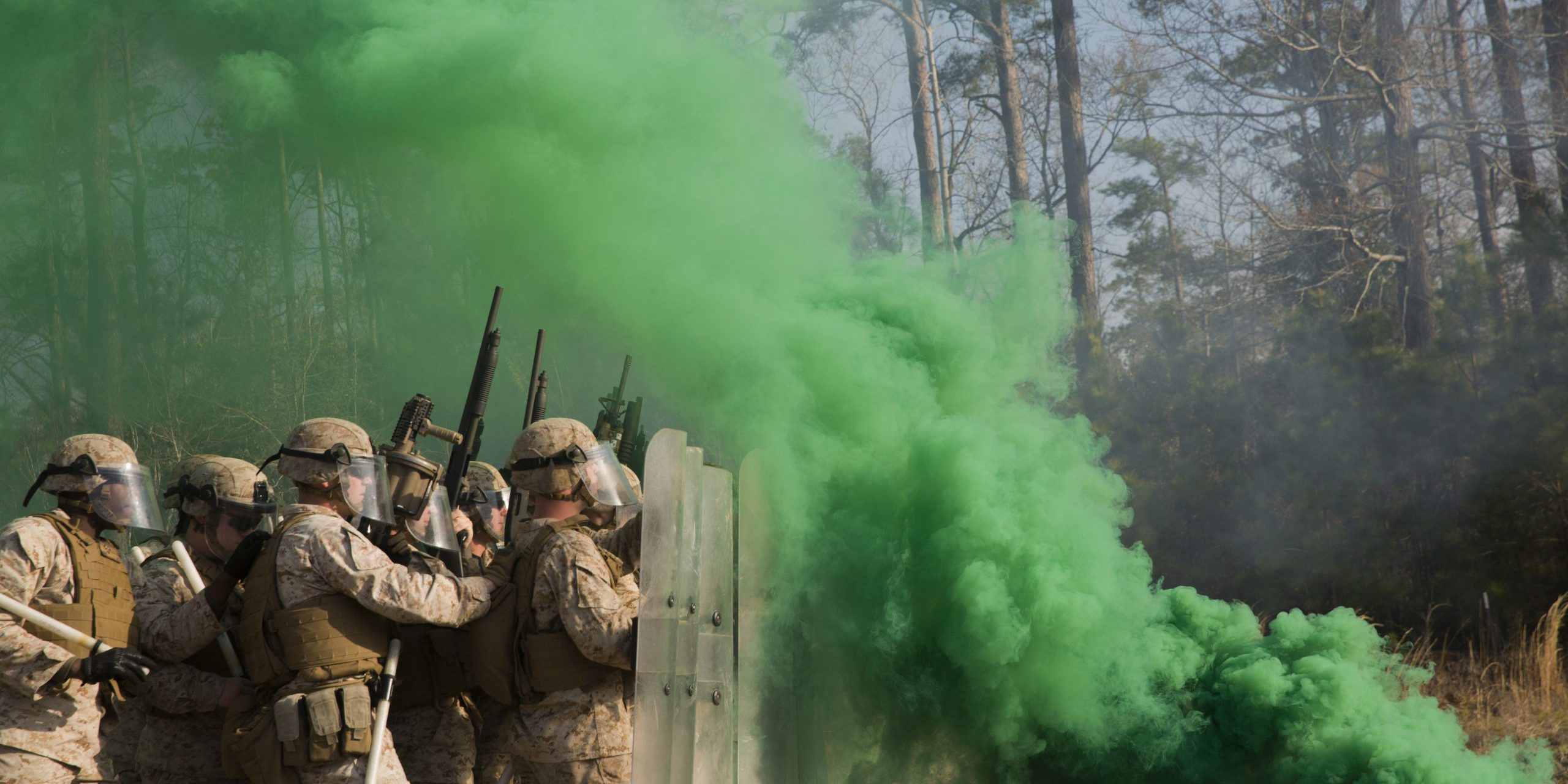 Smoke grenades thrown by course instructors envelop Marines with Golf Company and Echo Battery, 2nd Battalion, 6th Marine Regiment, in thick, green smoke during a non-lethal weapons training exercise aboard Camp Lejeune, N.C., March 25, 2015. The Marines participated in a two-week NLW course that teaches various riot-control methods. (U.S. Marine Corps photo by Lance Cpl. Fatmeh Saad/Released)