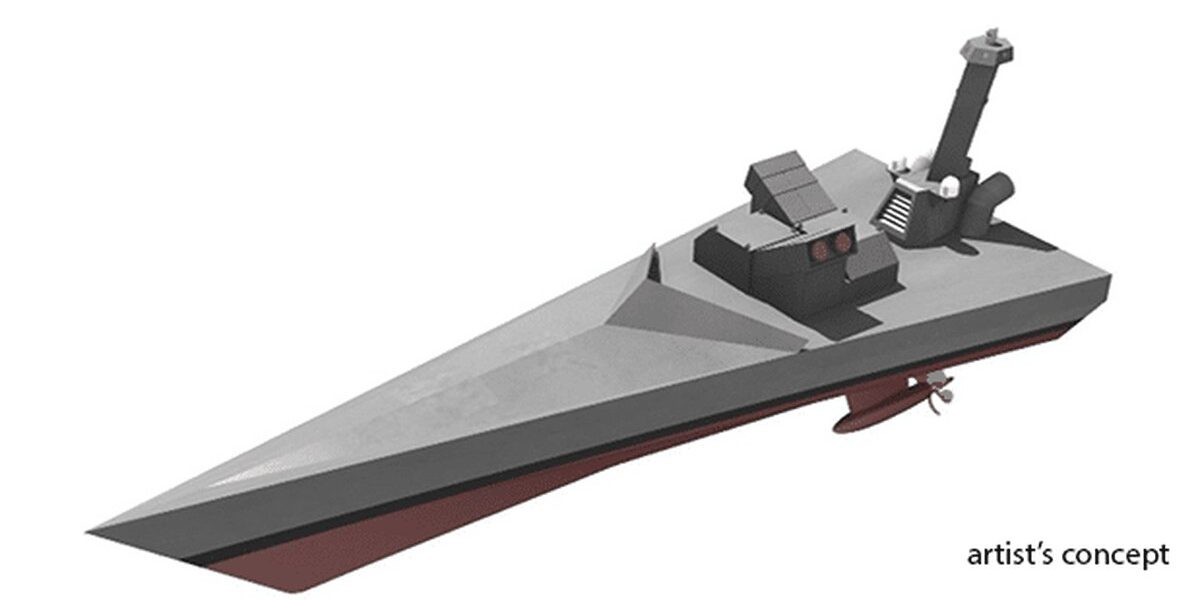 A Defense Advanced Research Projects Agency artists' rendering of a ship designed to operate completely without human intervention (source: DARPA).