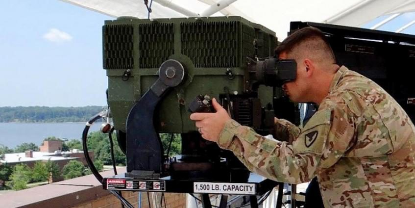 A soldier views the 3rd Gen FLIR's capabilities. Third Gen FLIR enables greater speed, precision and range in the targeting process and promises to unlock the full potential of infrared imaging. (source: U.S. Army, CERDEC)