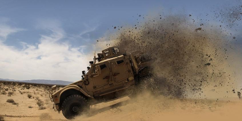 A mine-resistant, ambush-protected (MRAP), all-terrain vehicle, graphically modified (Source:  U.S. Marine Corps).