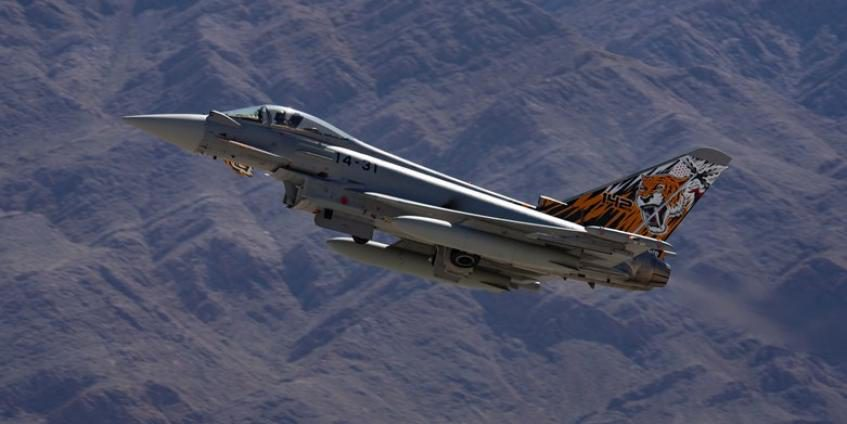 A Spanish Air Force Eurofighter Typhoon aircraft ascends in preparation for Red Flag 20-2 at Nellis Air Force Base, NV, on March 6, 2020. The Typhoon is a new generation multirole/swing-role combat aircraft and offers wide-range operational capabilities (U.S. Air Force photo by William Lewis).