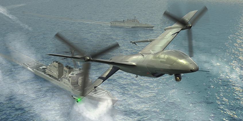 The Office of Naval Research and DARPA are collaborating on the Tern project to give forward-deployed small ships the ability to serve as mobile launch and recovery sites for medium-altitude, long-endurance unmanned aerial systems that would provide ISR and other capabilities (DARPA rendering).